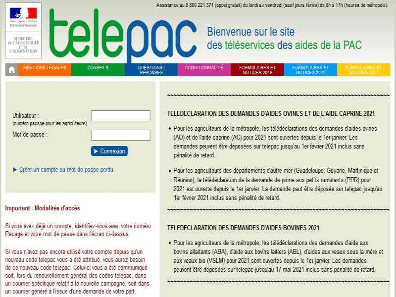 telepac declarations aides animales
